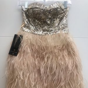 NWT BEBE Feather Sequin Dress Size XS